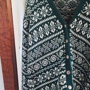 Vintage GAP Green and White Fair Isle Cardigan
